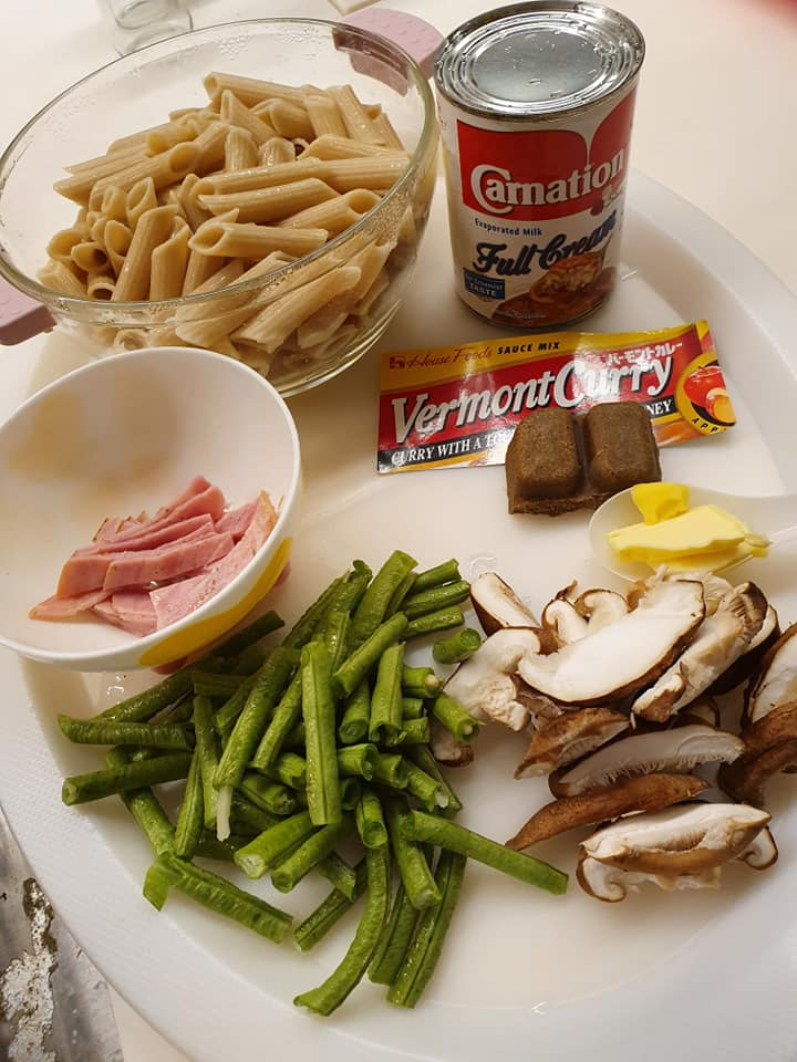 Ingredients for Penne with veggies in Japanese curry