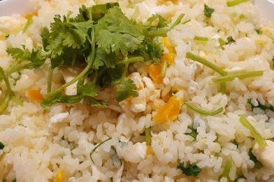 Salted Egg Fried Rice with Coriander Leaves
