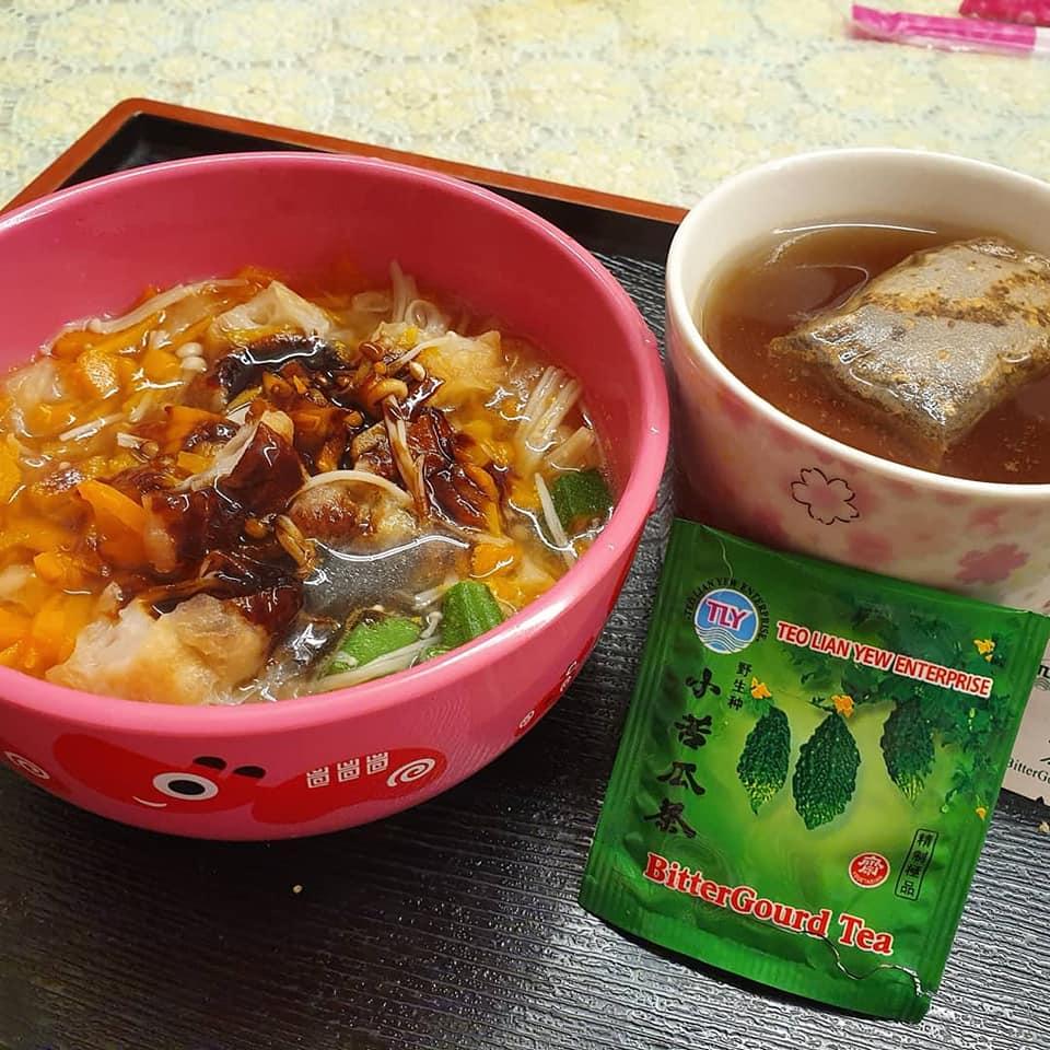 You Tiao Potage with Bittergourd tea