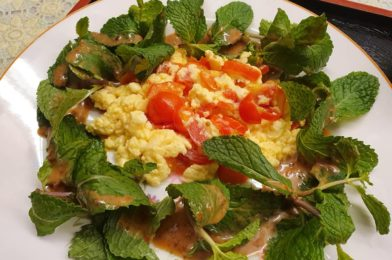 Healthy Breakfast: Egg with Tomato & Mint Leaves