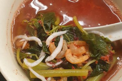 Red Spinach Shirasu Soup