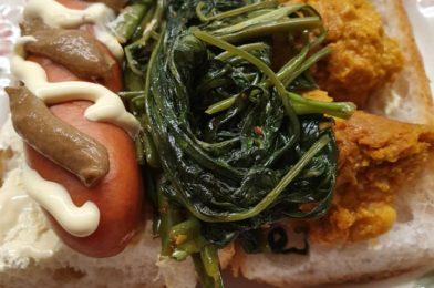 Otah, Sausage & Kang Kong sandwich
