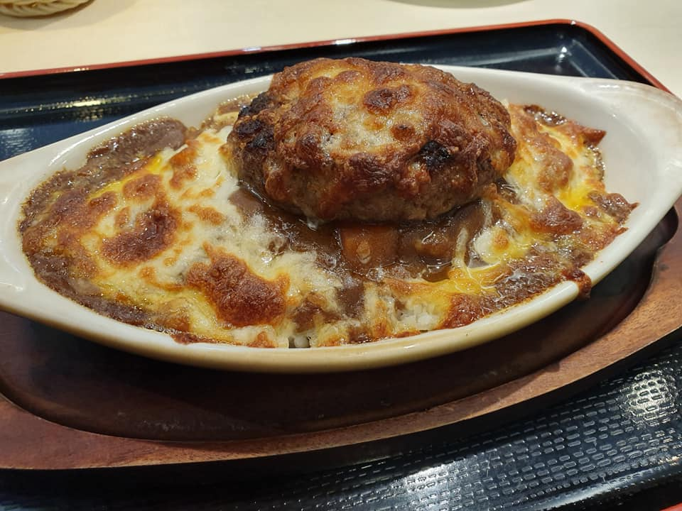Baked Hamburger Rice with Cheese and Japanese Curry Sauce @ Donguri Family Restaurant