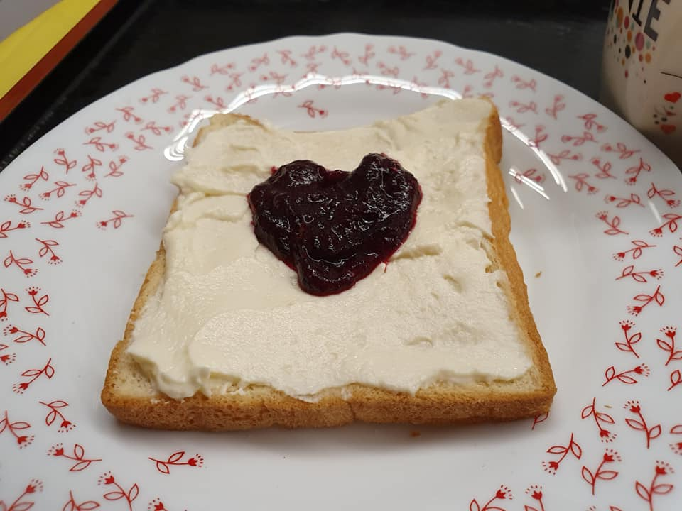 toasted bread spread with Cream Cheese and my self made Roselle Jam