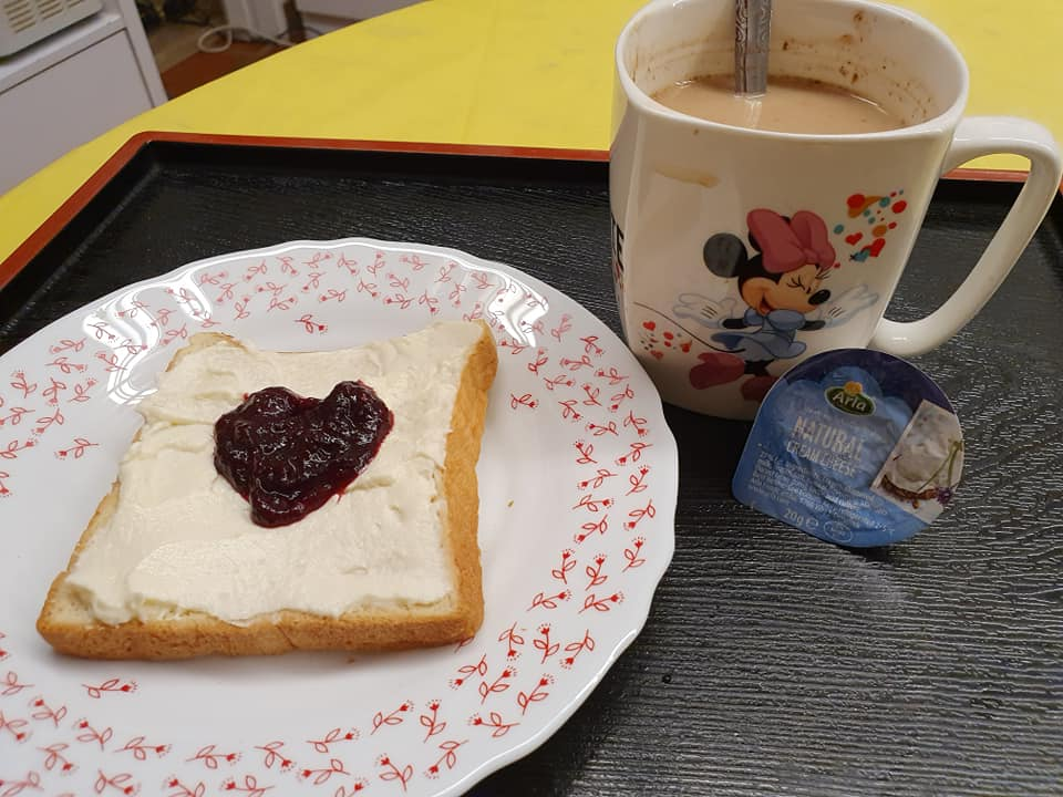 Toasted bread spread with Cream Cheese and my self made Roselle Jam with a cup of Nescafe Gold with Full Cream Milk