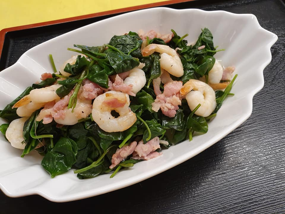 Mu Er Cai with Shrimps and Bacon