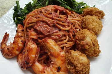 Spaghetti with Oyster Fritters & Prawn