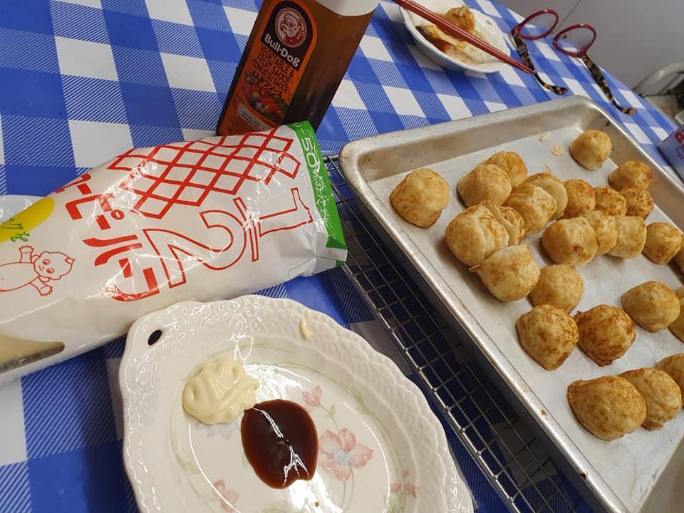 Homemade TAKOYAKI  serve with BULL-DOG brand Tonkatsu Sauce and QP brand 50% off Calories Mayonnaise.