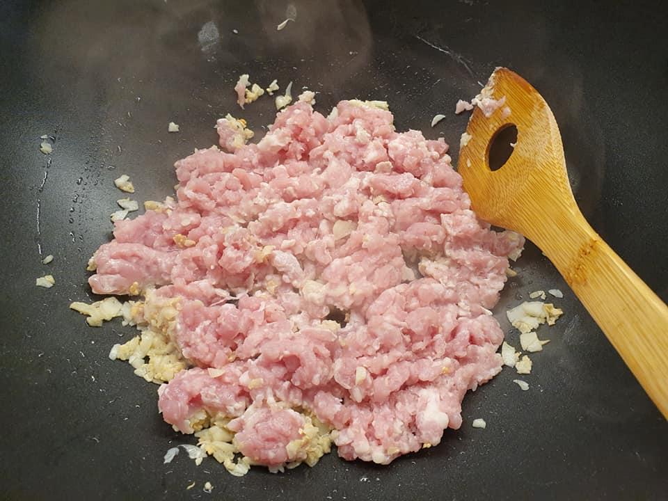 Adding in mince Pork