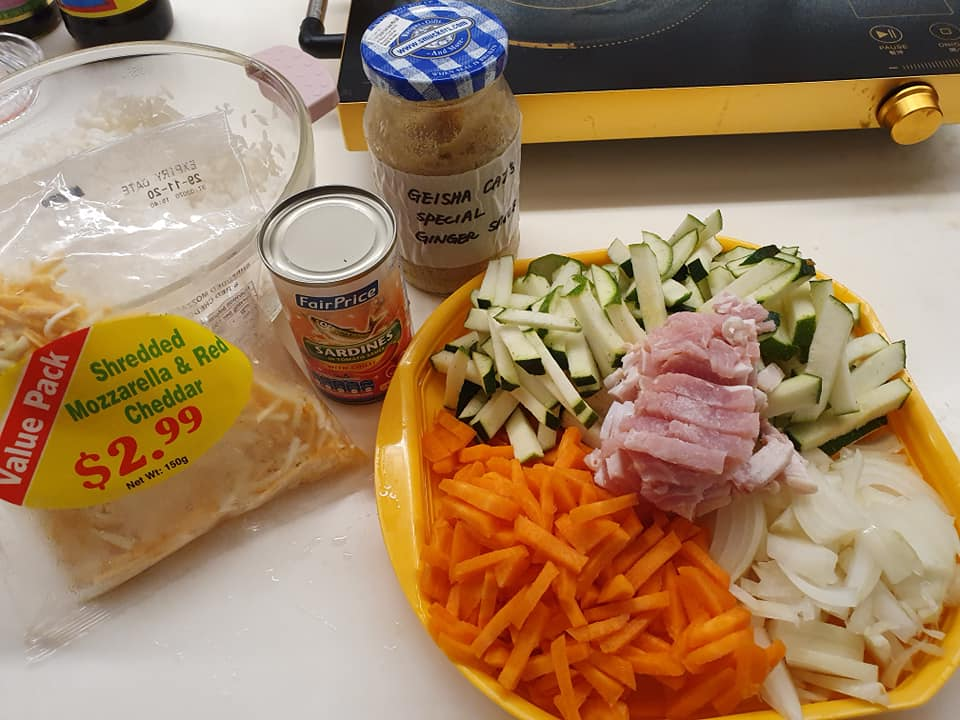 Ingredients for Special Zucchini Canned Sardine Fried Rice