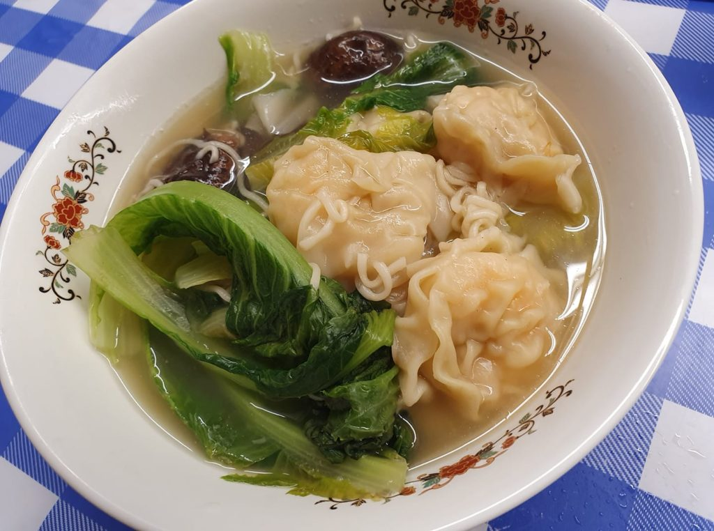 Myojo brand Tanmen with Prawn Wanton, shiitake mushrooms and romaine lettuce