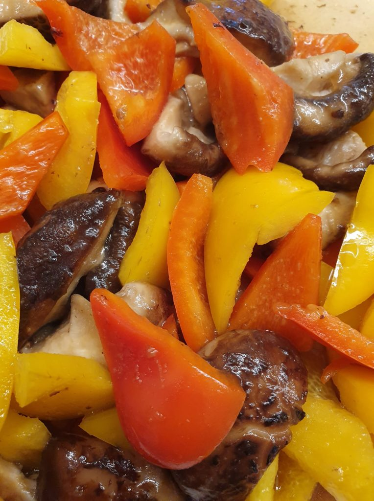 Stir Fry Red, Yellow Capsicum with Fresh Shiitake Mushrooms
