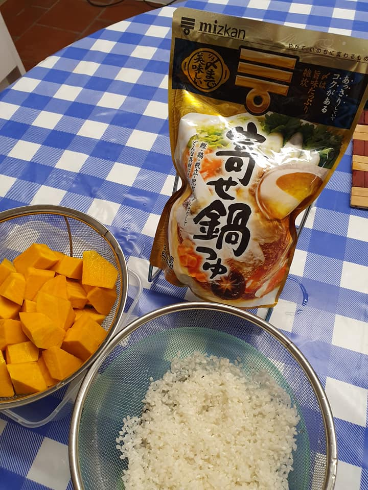 Ingredients for Pumpkin Rice Porridge with homemade Meat Balls