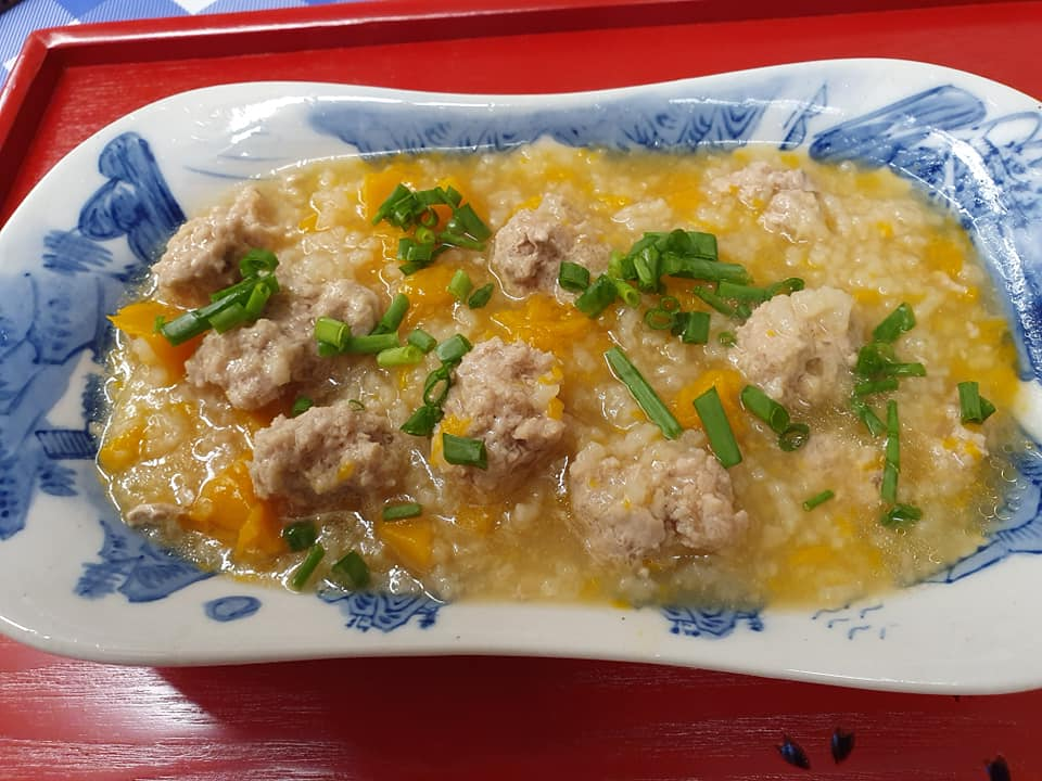 Pumpkin Rice Porridge with homemade Meat Balls