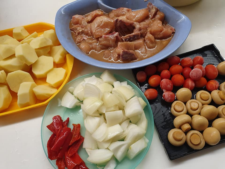 ingredients for Chicken Stew with Potato, Button Mushrooms & Cherry Tomatoes